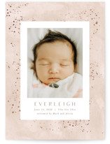 This is a pink birth announcement postcard by Hooray Creative called Sweet Everleigh with foil-pressed printing on signature in postcard.