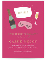 This is a gold bachelorette party invitation by Angela Garrick called Slumber Bachelorette with foil-pressed printing on signature in standard.