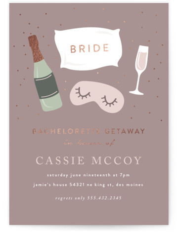 This is a brown, rosegold Bachelorette Party Invitations by Angela Garrick called Slumber Bachelorette with Foil Pressed printing on Signature in Standard Flat Card format. This bachelorette invitation features gold foil and fun illustrations