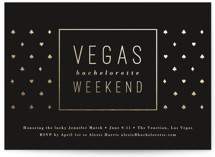This is a black bachelorette party invitation by Jessica Ogden called Classy Vegas with foil-pressed printing on signature in standard.