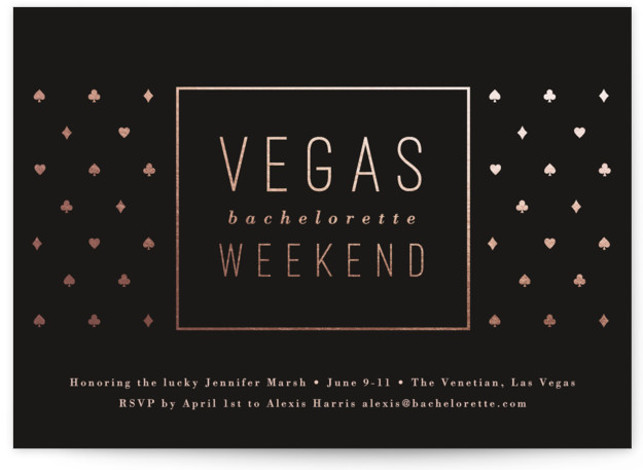 "This is a black, pink, rosegold Bachelorette Party Invitations by Jessica Ogden called Classy Vegas with Foil Pressed printing on Signature in Standard Flat Card format. 7"" x 5""Size. A Vegas bachelorette party invitation for the lady that wants to ..."
