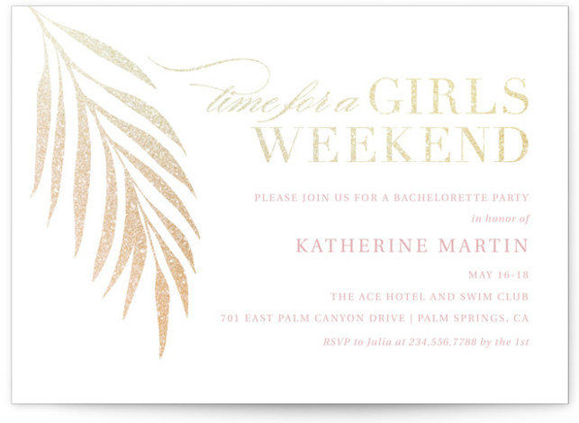 This is a gold, pink Bachelorette Party Invitations by Kelly Nasuta called Girls Weekend with Foil Pressed printing on Signature in Standard Flat Card format. Foil pressed beach themed bachelorette invitation
