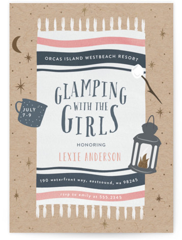 """This is a blue, brown, gold, pink Bachelorette Party Invitations by Angela Garrick called Gone Glamping with Foil Pressed printing on Signature in Standard Flat Card format. 5"""" x 7""""Size. Bachelorette invitation for a glamping weekend with the girls."""