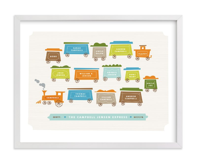 This is a orange family tree art by Jennifer Wick called Little Caboose.