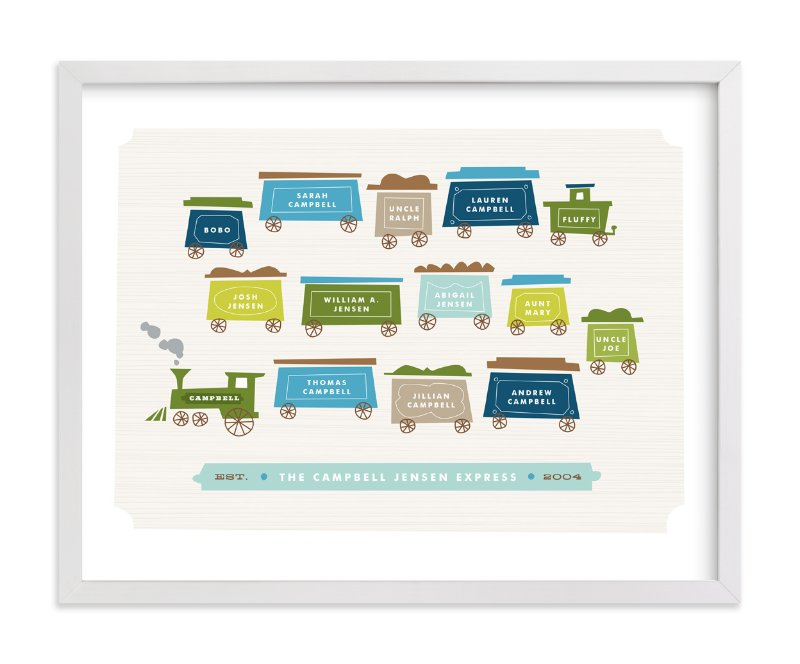 This is a green family tree art by Jennifer Wick called Little Caboose.