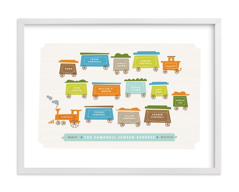 """Little Caboose"" - Family Tree Custom Art Print by Jennifer Wick in beautiful frame options and a variety of sizes."