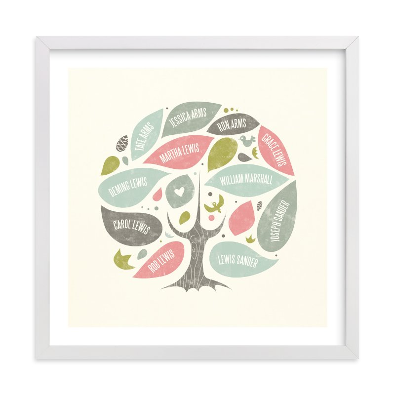 This is a pink family tree art by Heather Francisco called Folk Family Tree.