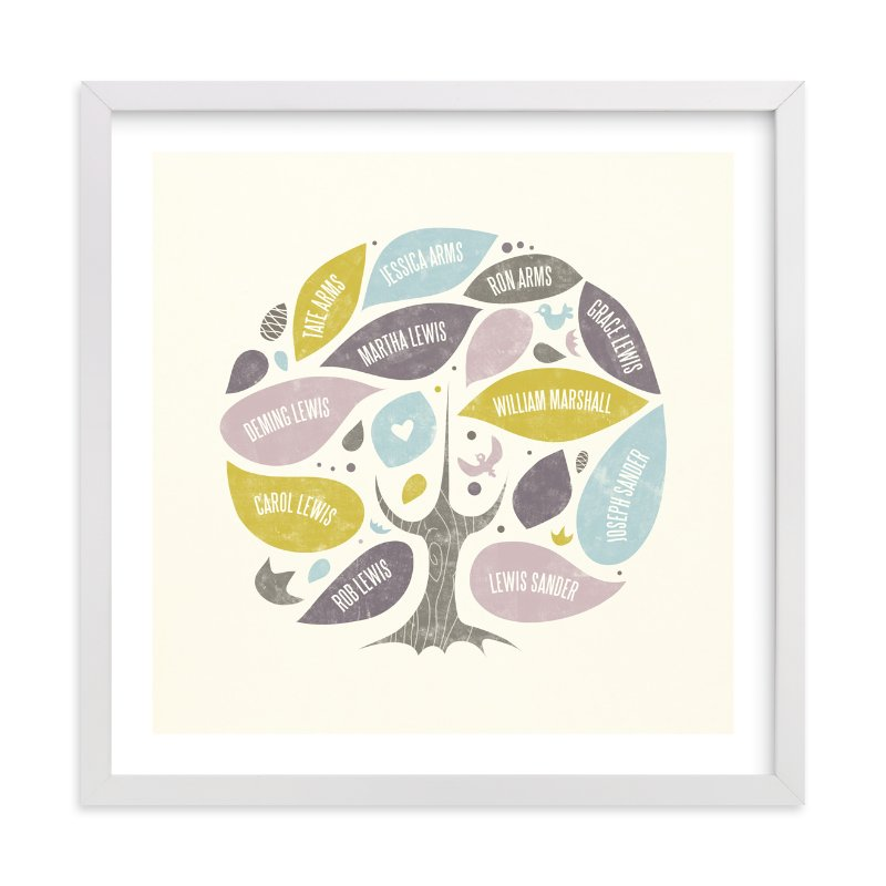 This is a purple family tree art by Heather Francisco called Folk Family Tree.