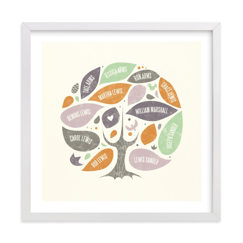 This is a orange family tree art by Heather Francisco called Folk Family Tree.