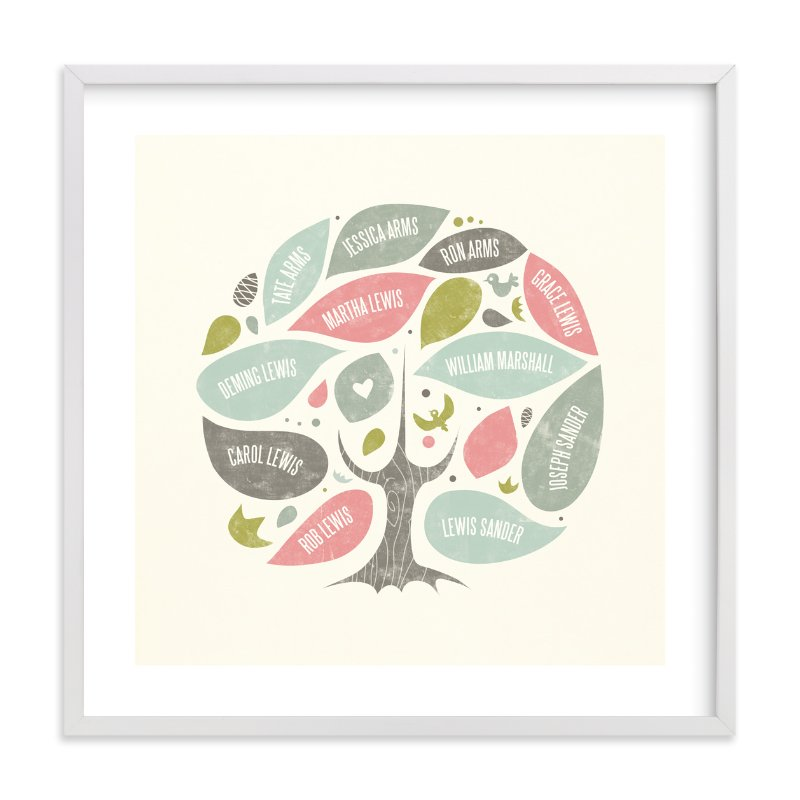 """""""Folk Family Tree"""" - Family Tree Custom Art Print by Heather Francisco in beautiful frame options and a variety of sizes."""