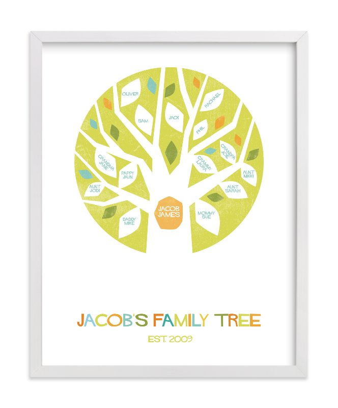 This is a green family tree art by Robin Ott called Jacob's Tree.