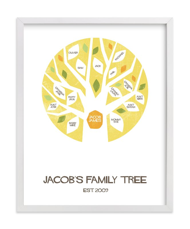 This is a yellow family tree art by Robin Ott called Jacob's Tree.