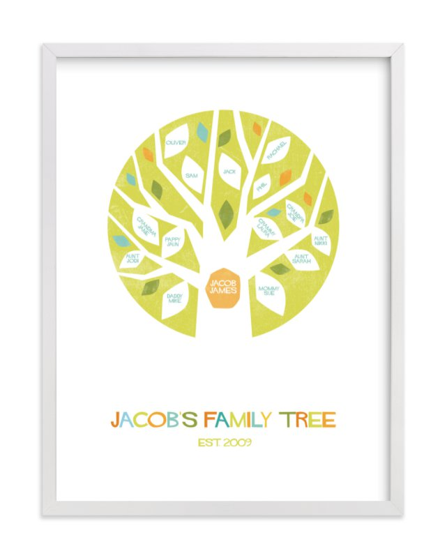 """Jacob's Tree"" - Family Tree Custom Art Print by Robin Ott in beautiful frame options and a variety of sizes."
