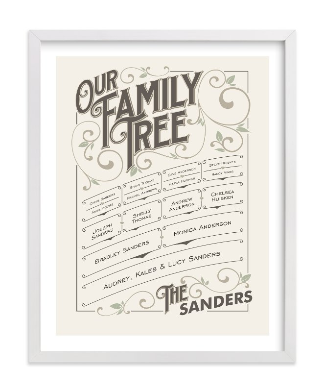 This is a green family tree art by GeekInk Design called Our Vintage Family.