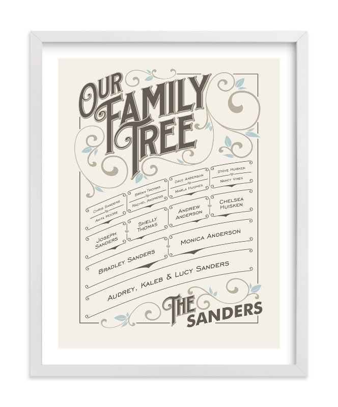 This is a blue family tree art by GeekInk Design called Our Vintage Family.