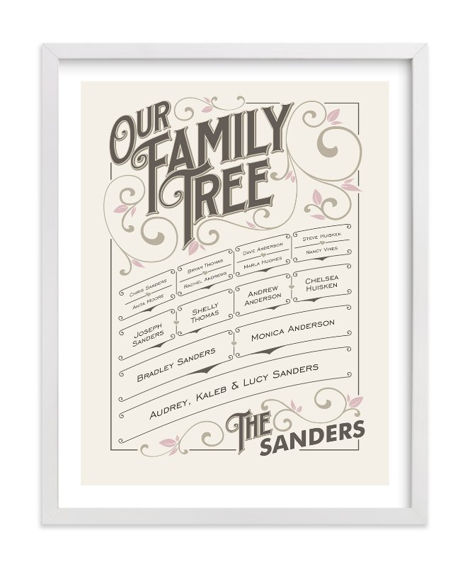 This is a pink family tree art by GeekInk Design called Our Vintage Family.