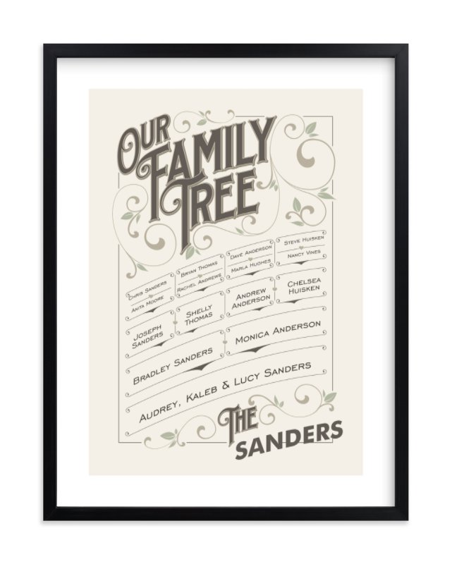 """Our Vintage Family"" - Family Tree Custom Art Print by GeekInk Design in beautiful frame options and a variety of sizes."