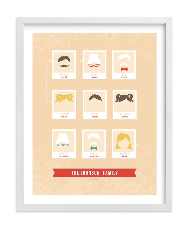 This is a orange family tree art by Serenity Avenue called Modern Family Tree.