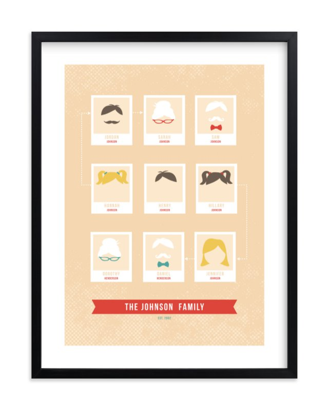 """Modern Family Tree"" - Family Tree Custom Art Print by Serenity Avenue in beautiful frame options and a variety of sizes."