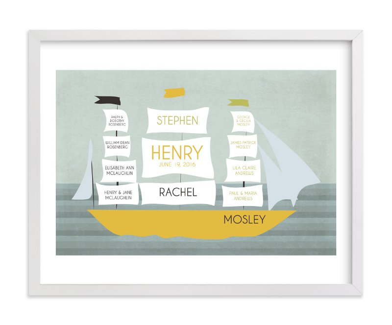 This is a yellow family tree art by BusyNothings called Schooner.