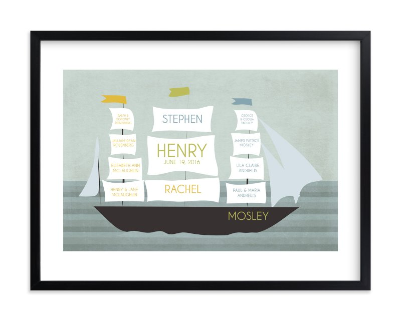 """""""Schooner"""" - Family Tree Custom Art Print by BusyNothings in beautiful frame options and a variety of sizes."""