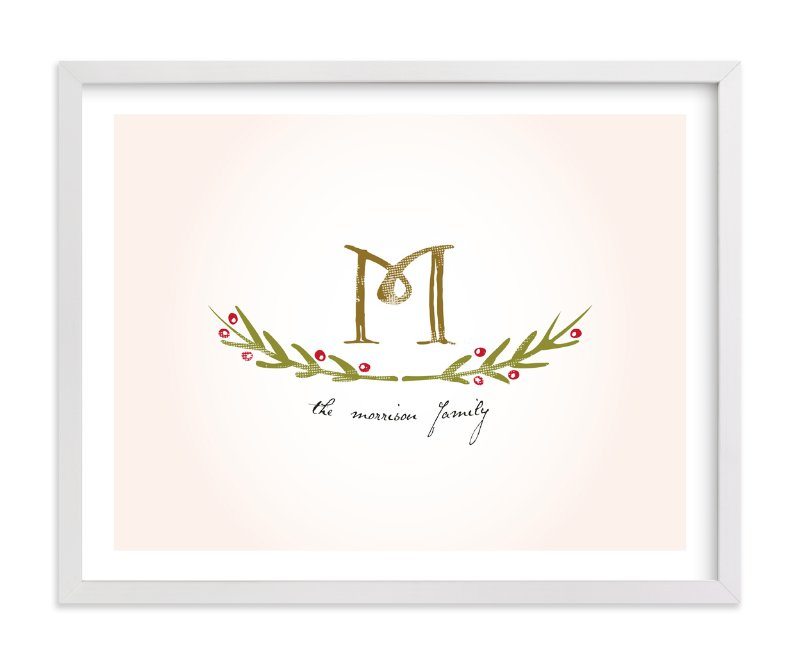 This is a pink family tree art by Christina Novak called Family Monogram.