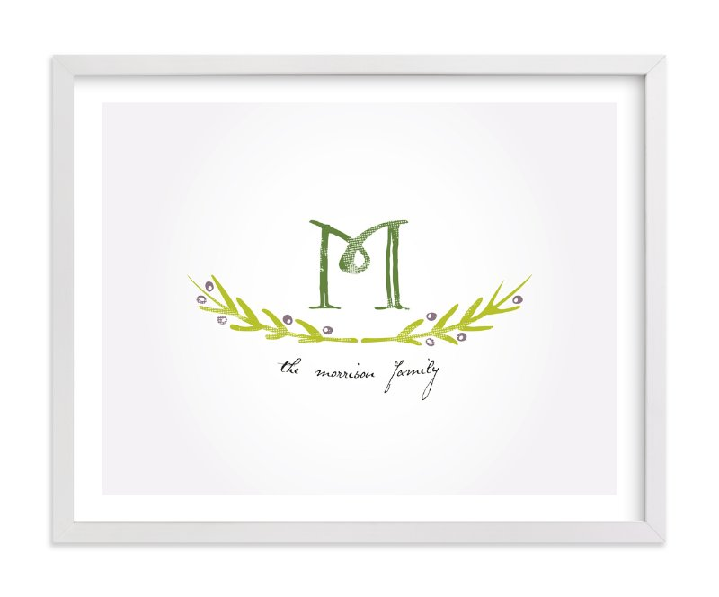 This is a grey family tree art by Christina Novak called Family Monogram.
