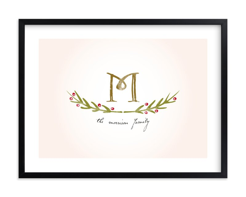 """Family Monogram"" - Family Tree Custom Art Print by Christina Novak in beautiful frame options and a variety of sizes."