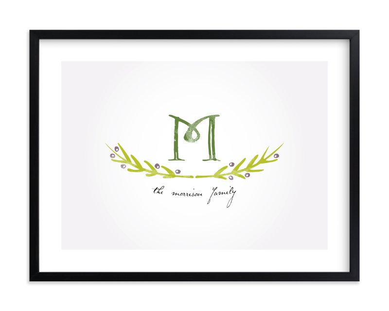 """""""Family Monogram"""" - Family Tree Custom Art Print by Christina Novak in beautiful frame options and a variety of sizes."""