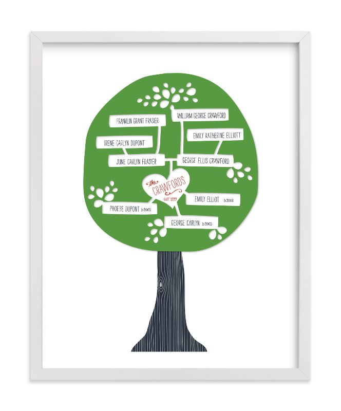 This is a green family tree art by Alston Wise called Paper Tree Carving.