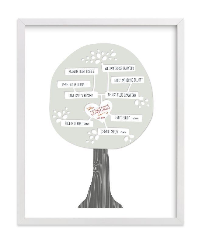 This is a grey family tree art by Alston Wise called Paper Tree Carving.