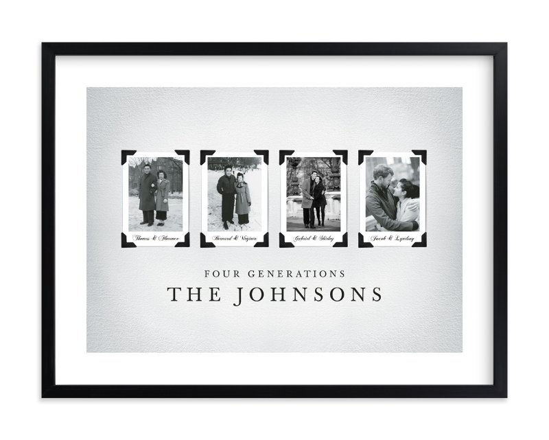 """Four Generations"" - Family Tree Custom Art Print by Katie Speelman in beautiful frame options and a variety of sizes."