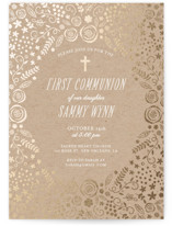 This is a green confirmation invitations card by Chasity Smith called Communion Florals with foil-pressed printing on triplethick in standard.