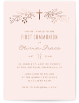 This is a pink confirmation invitations card by Annie Holmquist called Gilded Cross with foil-pressed printing on signature in standard.