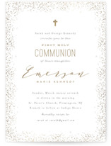 This is a brown confirmation invitations card by Creo Study called Heavenly blessings with foil-pressed printing on signature in standard.