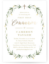This is a green confirmation invitations card by Carolyn MacLaren called Eucalyptus Wreath with foil-pressed printing on signature in standard.