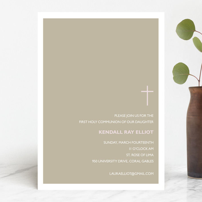 """""""Bisect"""" - First Communion Invitations in Leather by Marabou Design."""
