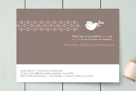 Dove on Gray First Communion Invitations