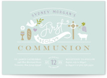 This is a blue communion invitations announcement by Jennifer Wick called Icons of Faith with standard printing on signature in standard.
