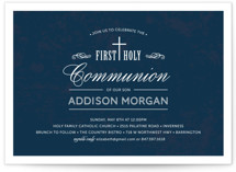 This is a blue communion invitations announcement by Beth Schneider called Stately Cross with standard printing on signature in standard.