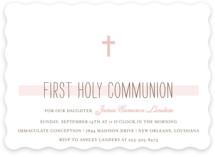 This is a pink communion invitations announcement by Chasity Smith called Simple Communion with standard printing on signature in standard.