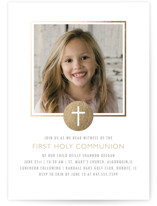 This is a brown communion invitations announcement by Erin Deegan called Golden Cross with standard printing on signature in standard.