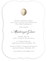 This is a white communion invitations announcement by Annie Holmquist called Medallion Cross with standard printing on signature in standard.