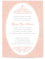 This is a pink communion invitations announcement by Sarah DeWitt called Sweet Tradition with standard printing on signature in standard.