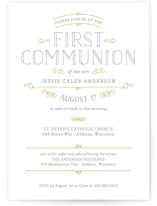 This is a yellow communion invitations announcement by Sarah Brown called Delicate with standard printing on signature in standard.