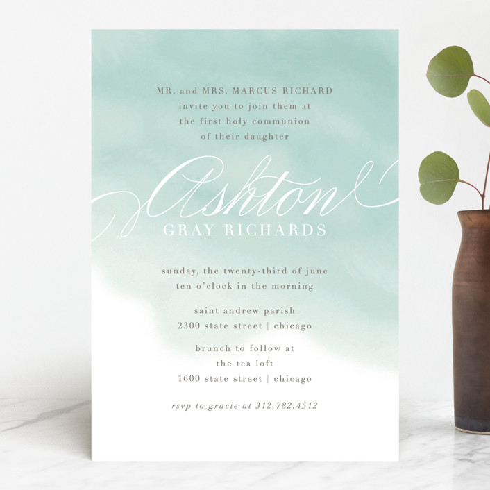 """Water Wash"" - First Communion Invitations in Aqua by Lehan Veenker."