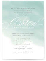 This is a green communion invitations announcement by Lehan Veenker called Water Wash with standard printing on signature in standard.