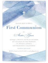This is a blue communion invitations announcement by Four Wet Feet Studio called watercolor stripes with standard printing on signature in standard.
