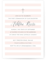 This is a pink communion invitations announcement by Lauren Chism called Sleek with standard printing on signature in standard.