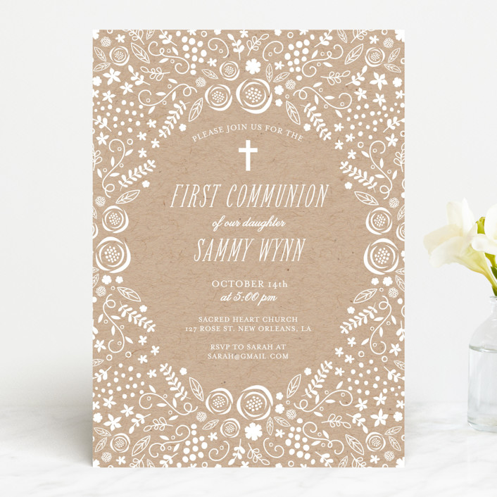 """""""Communion Floral"""" - Rustic First Communion Invitations in Cake by Chasity Smith."""